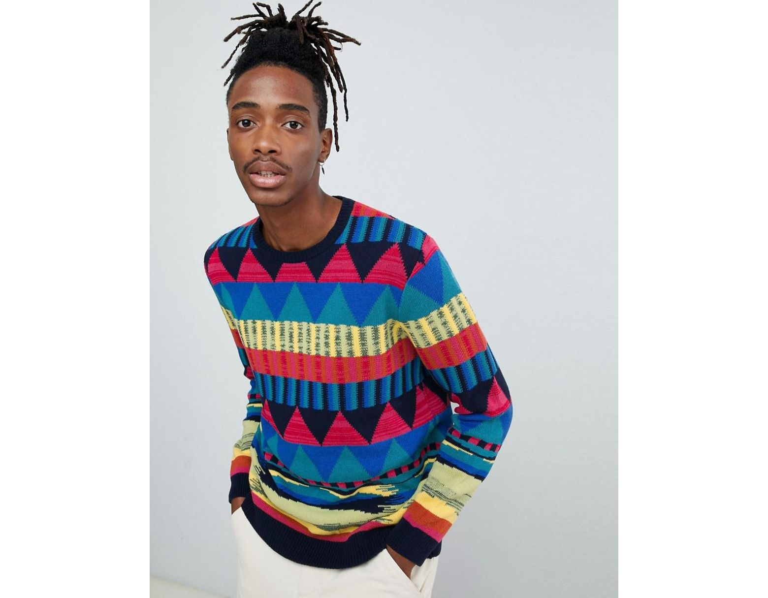 6e5a17f737b6 ASOS Knitted Sweater With Geo Rainbow Pattern in Blue for Men - Lyst