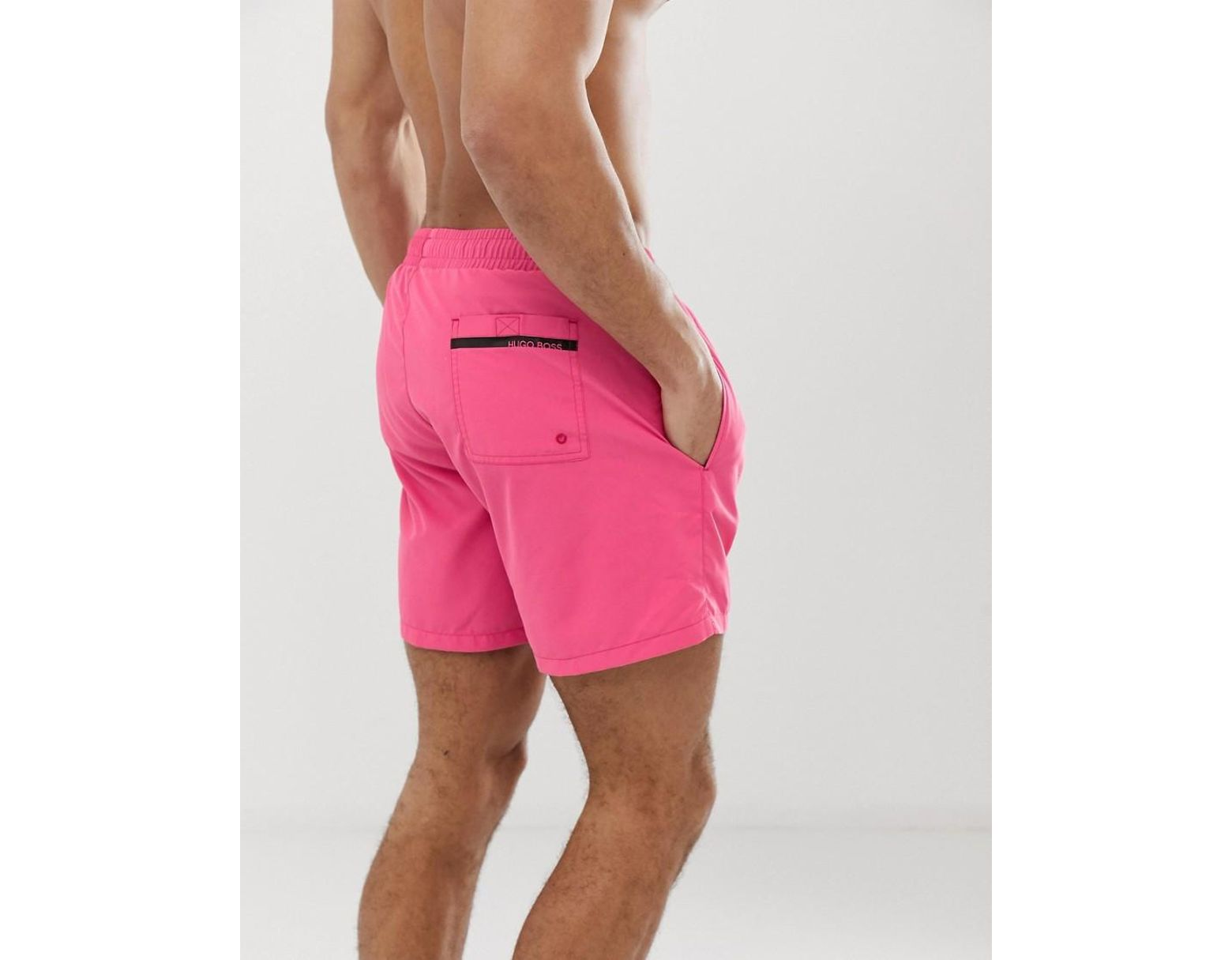 4bcfe69514 BOSS Dolphin Logo Swim Shorts In Pink in Pink for Men - Lyst