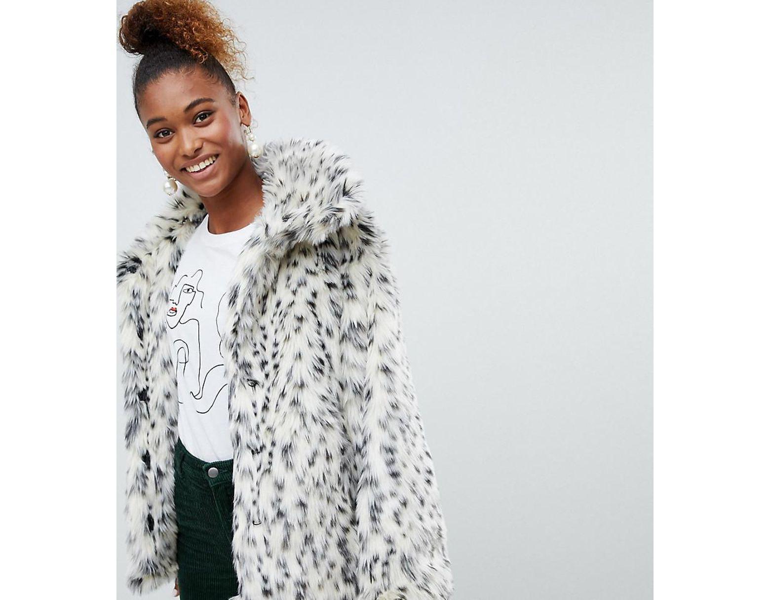 26ecc061efc0 Monki Faux Fur Leopard Print Jacket In Black And White in White - Lyst