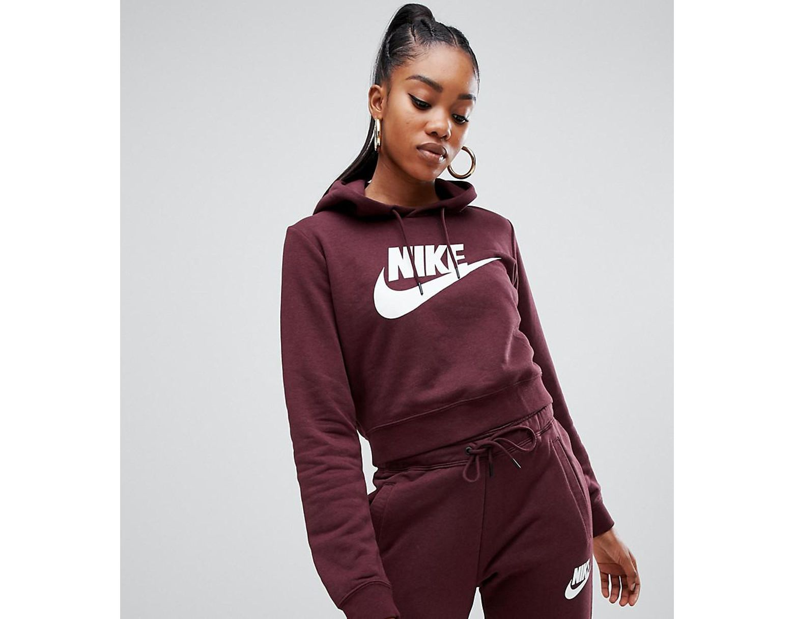 27089272e Nike Rally Burgundy Cropped Logo Hoodie in Red - Lyst