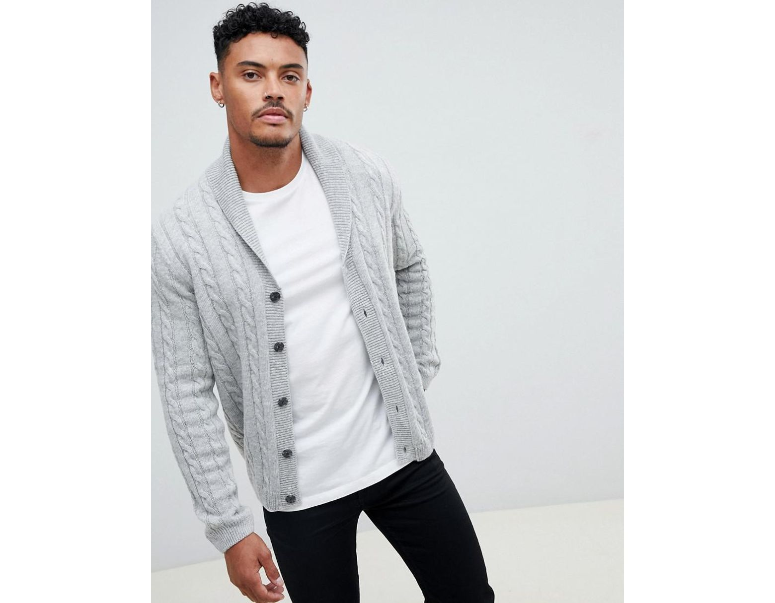 a2309b14efd ASOS Cable Cardigan In Light Gray in Gray for Men - Lyst