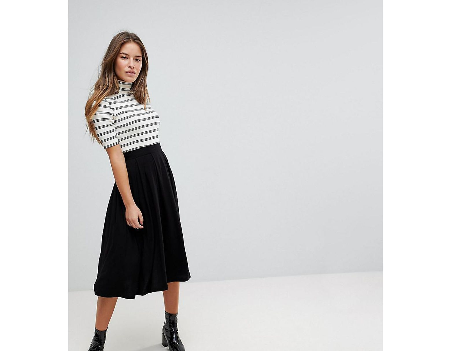 a7d079518 ASOS Asos Design Petite Midi Skirt With Box Pleats in Black - Save 10% -  Lyst