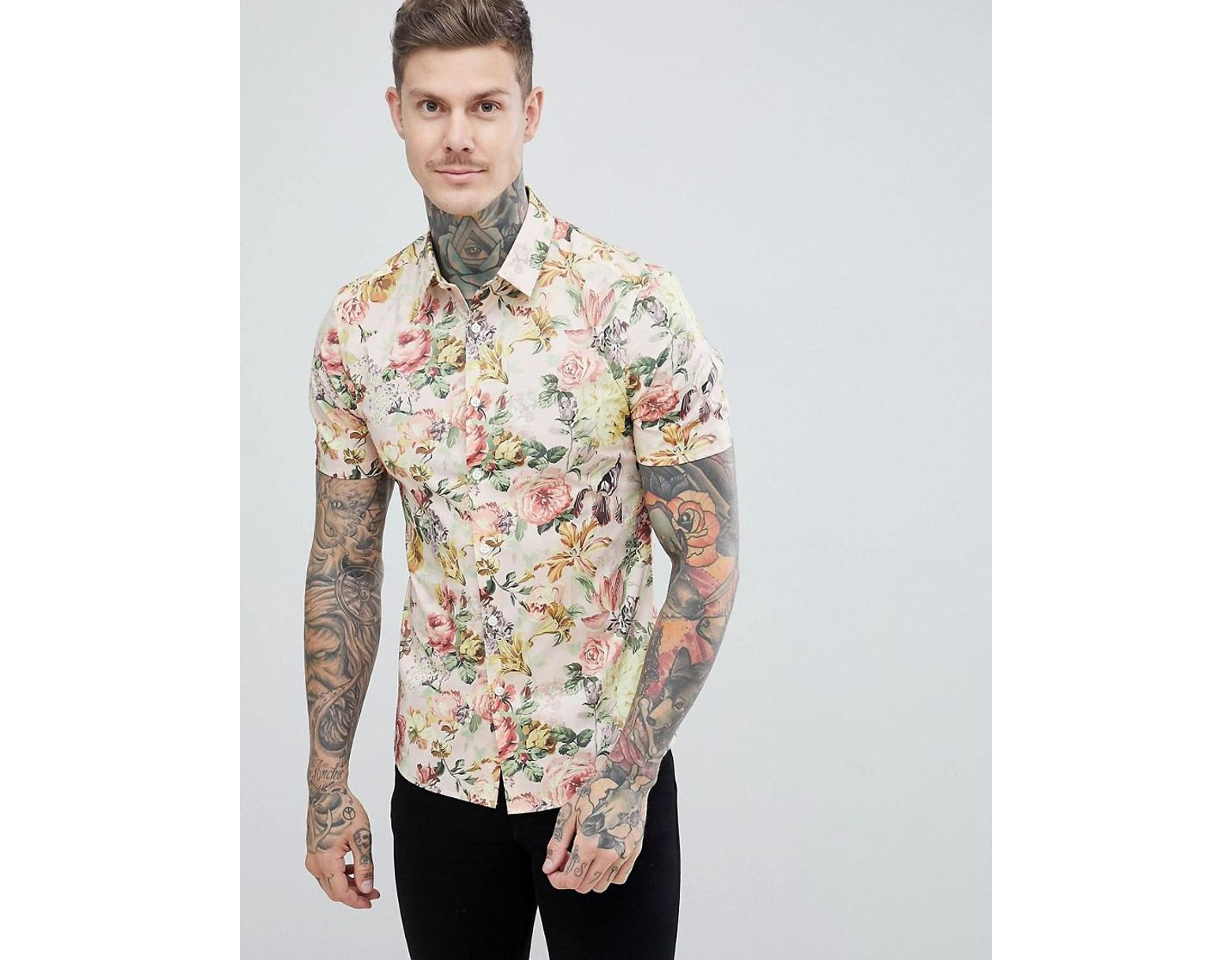 d13e4c1a ASOS Skinny Floral Printed Shirt in White for Men - Lyst
