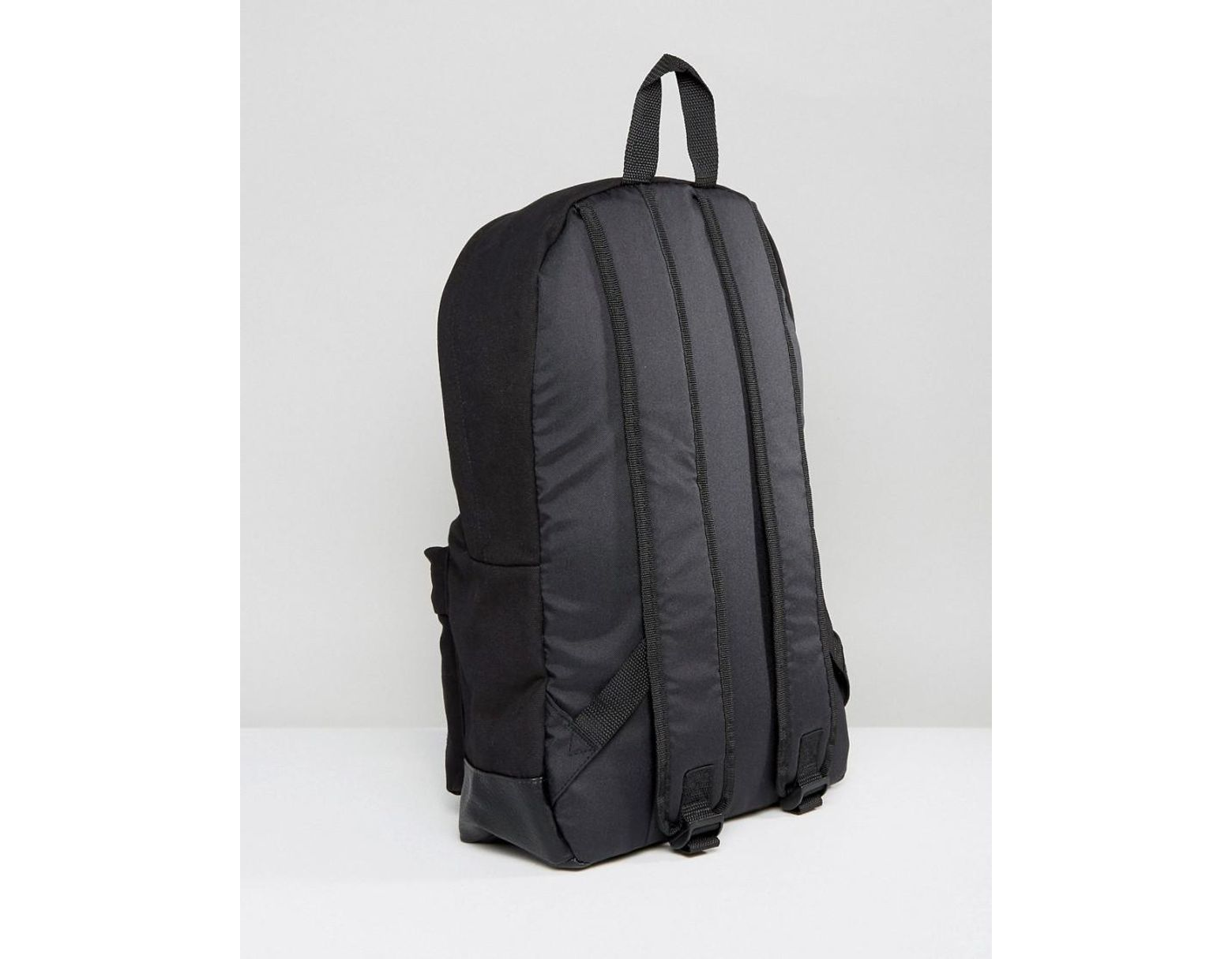 b36b5c4c581 ASOS Backpack In Black Canvas With Faux Leather Base in Black for Men - Lyst