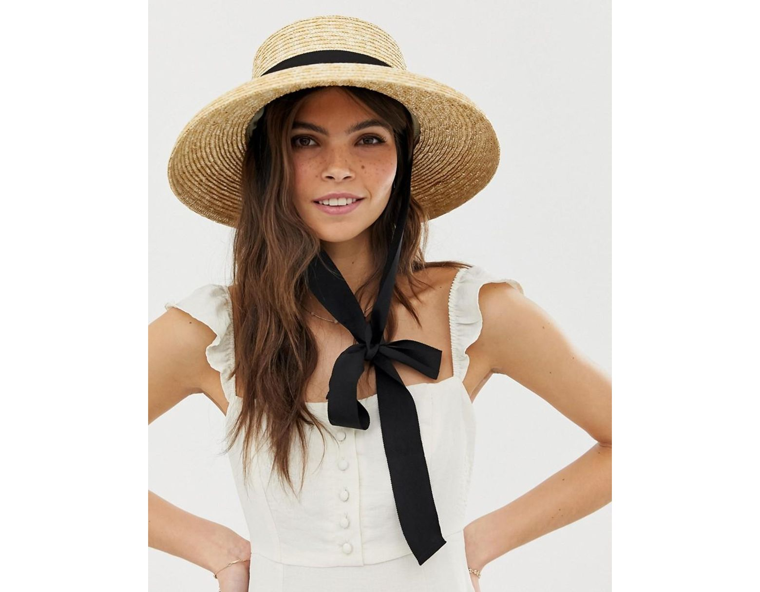 f742484519b58c ASOS Turned Edge Natural Straw Hat With Changeable Ties in Brown - Lyst