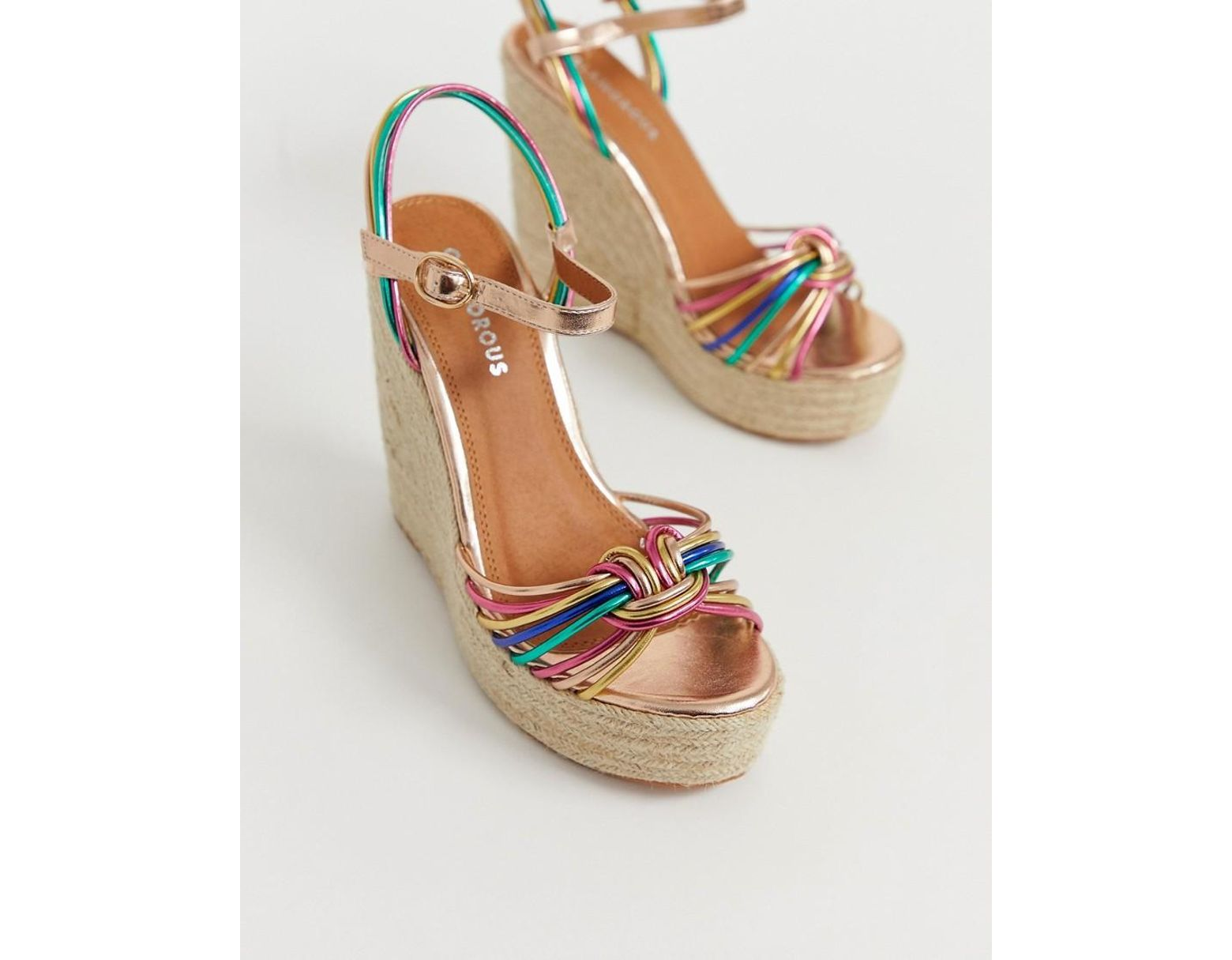 00efe946c94 Glamorous Multicoloured Espadrille Wedge Sandals - Lyst