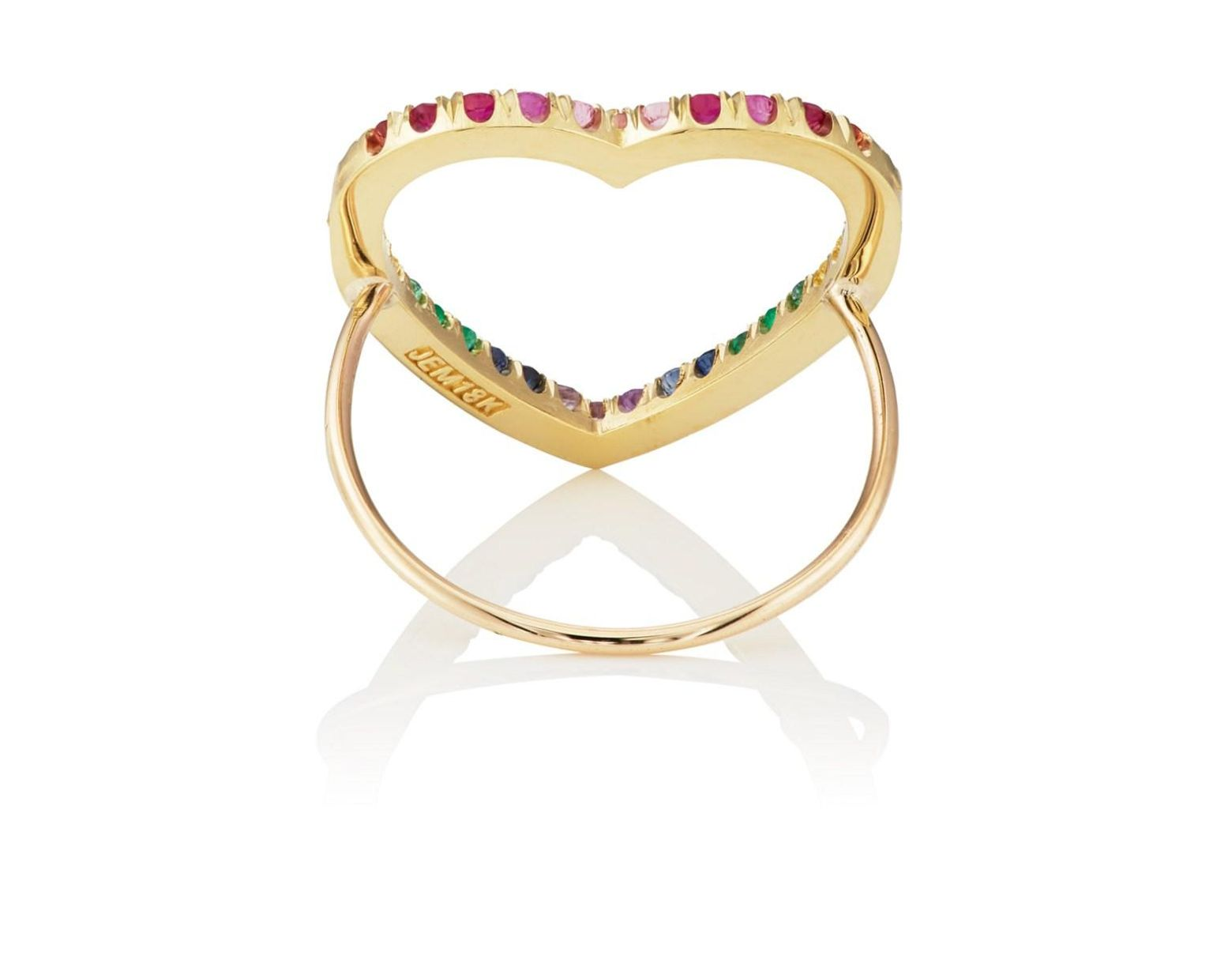cabdffbab5d2f9 Jennifer Meyer Rainbow Open Heart Ring Size 6.5 - Lyst