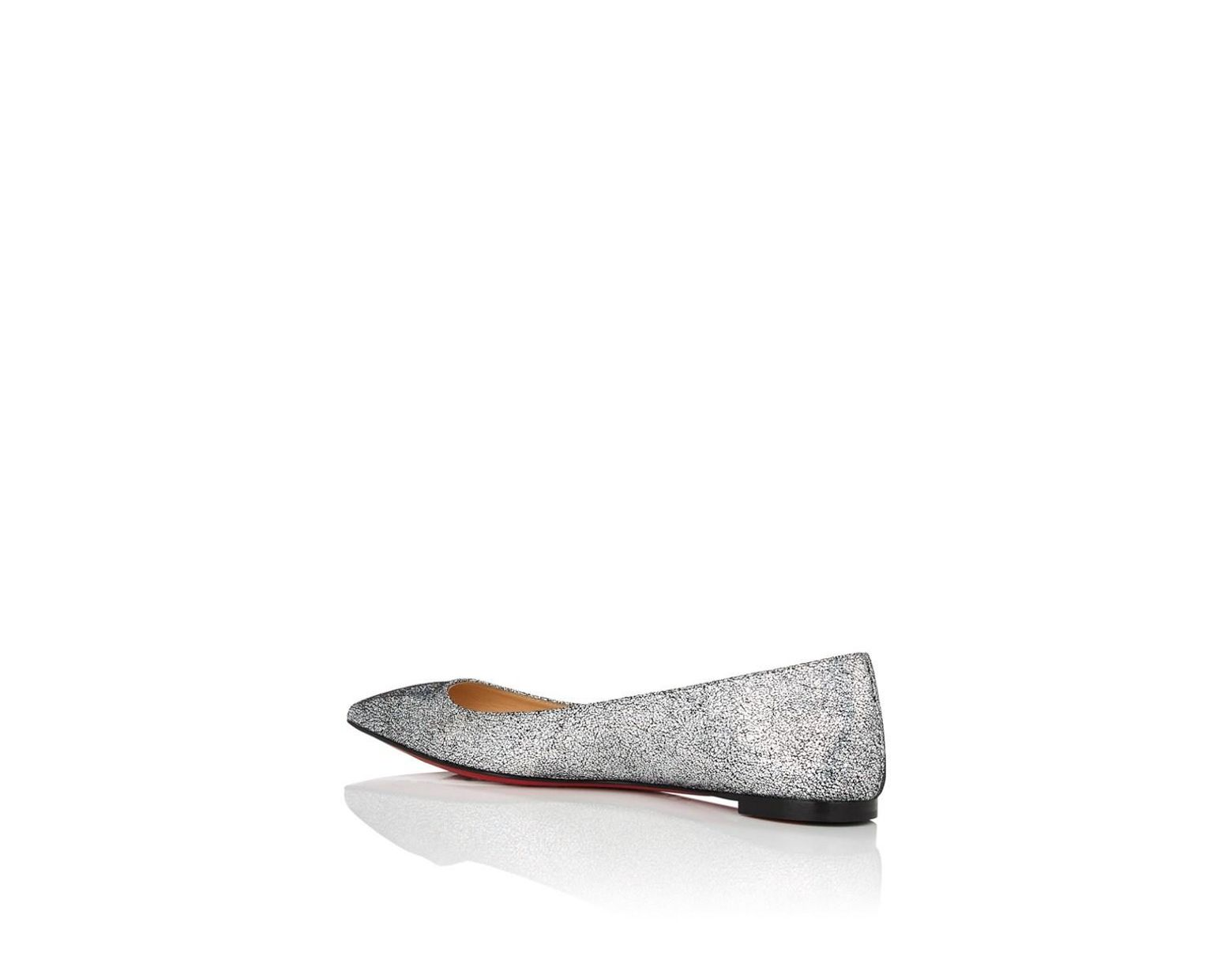 5c6d37fbbdf7 Lyst - Christian Louboutin Ballalla Glitter Leather Flats in Metallic