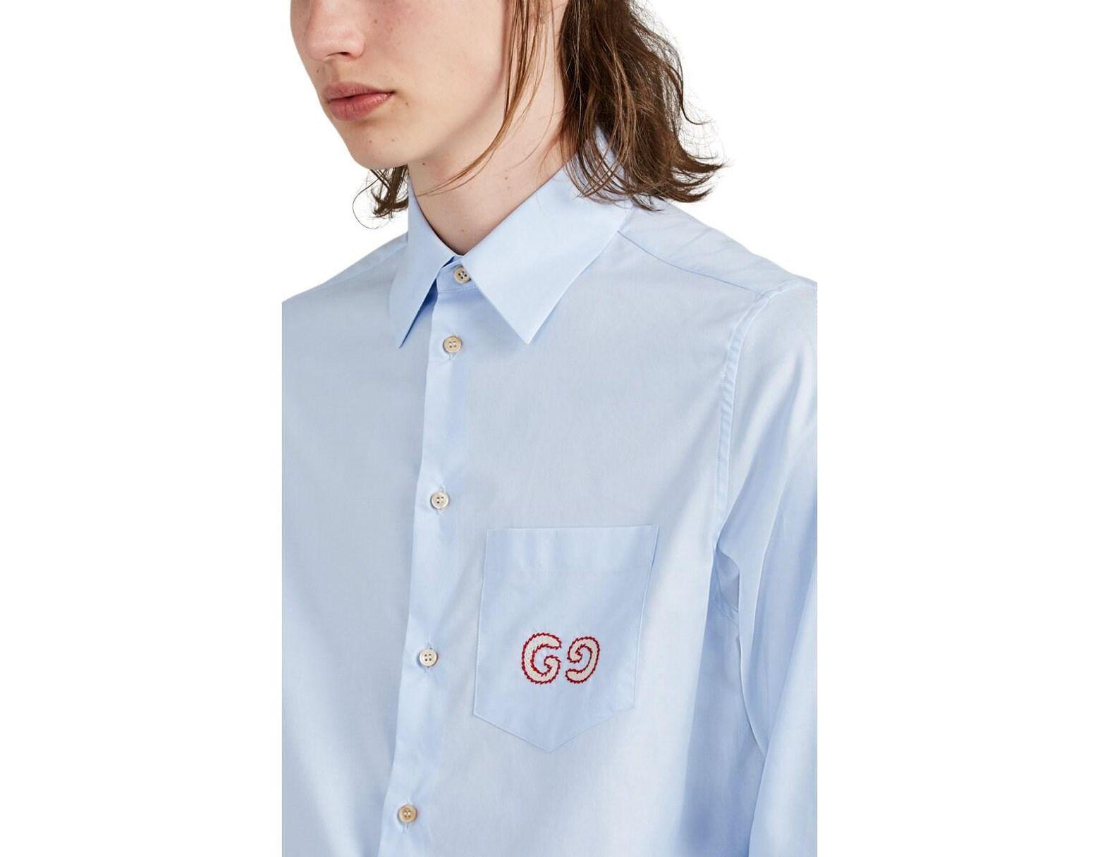 70143eb25d1d Gucci GG Logo Cotton Shirt in Blue for Men - Lyst
