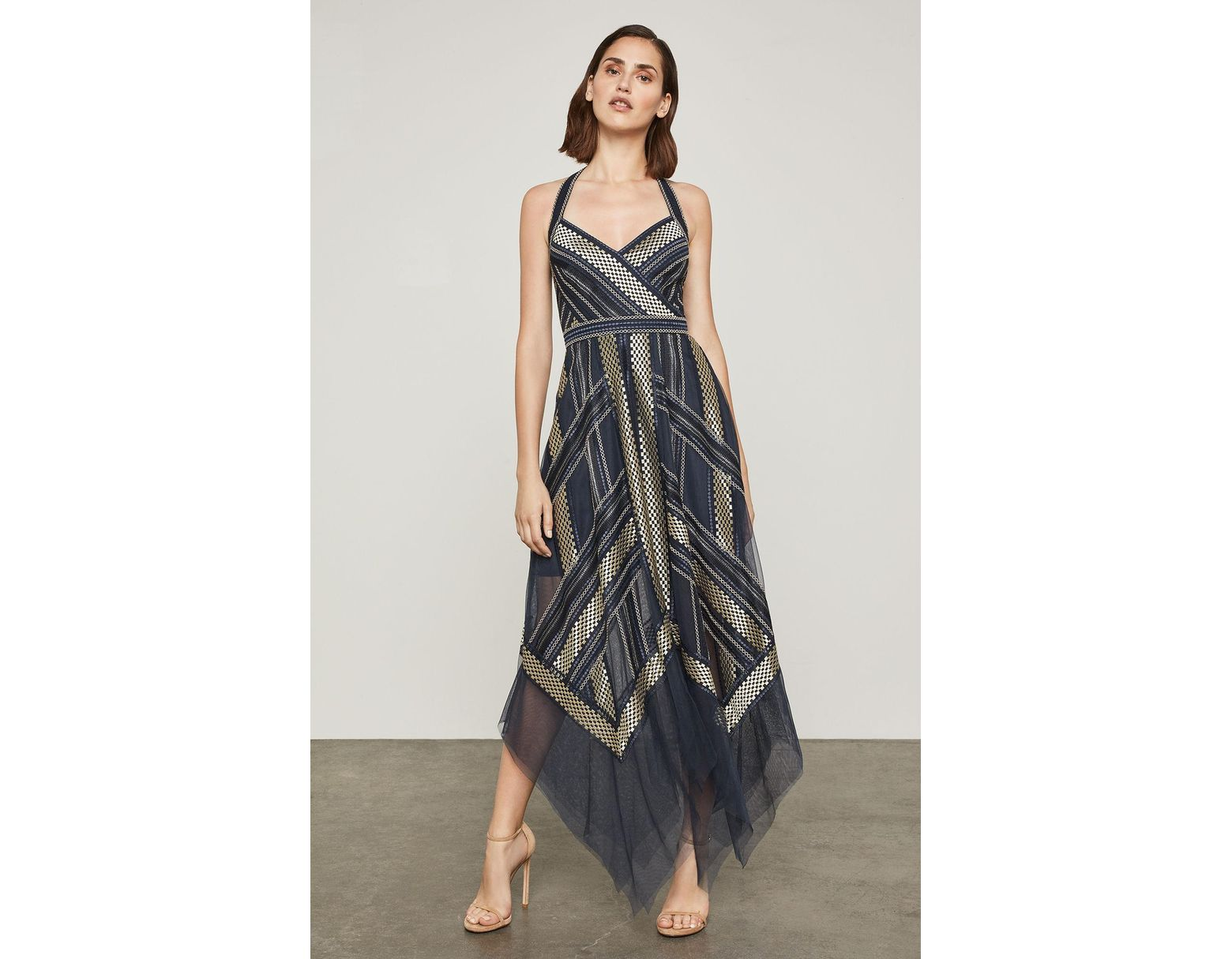 a07db007fa58 BCBGMAXAZRIA Bcbg Metallic Striped Handkerchief Dress - Lyst