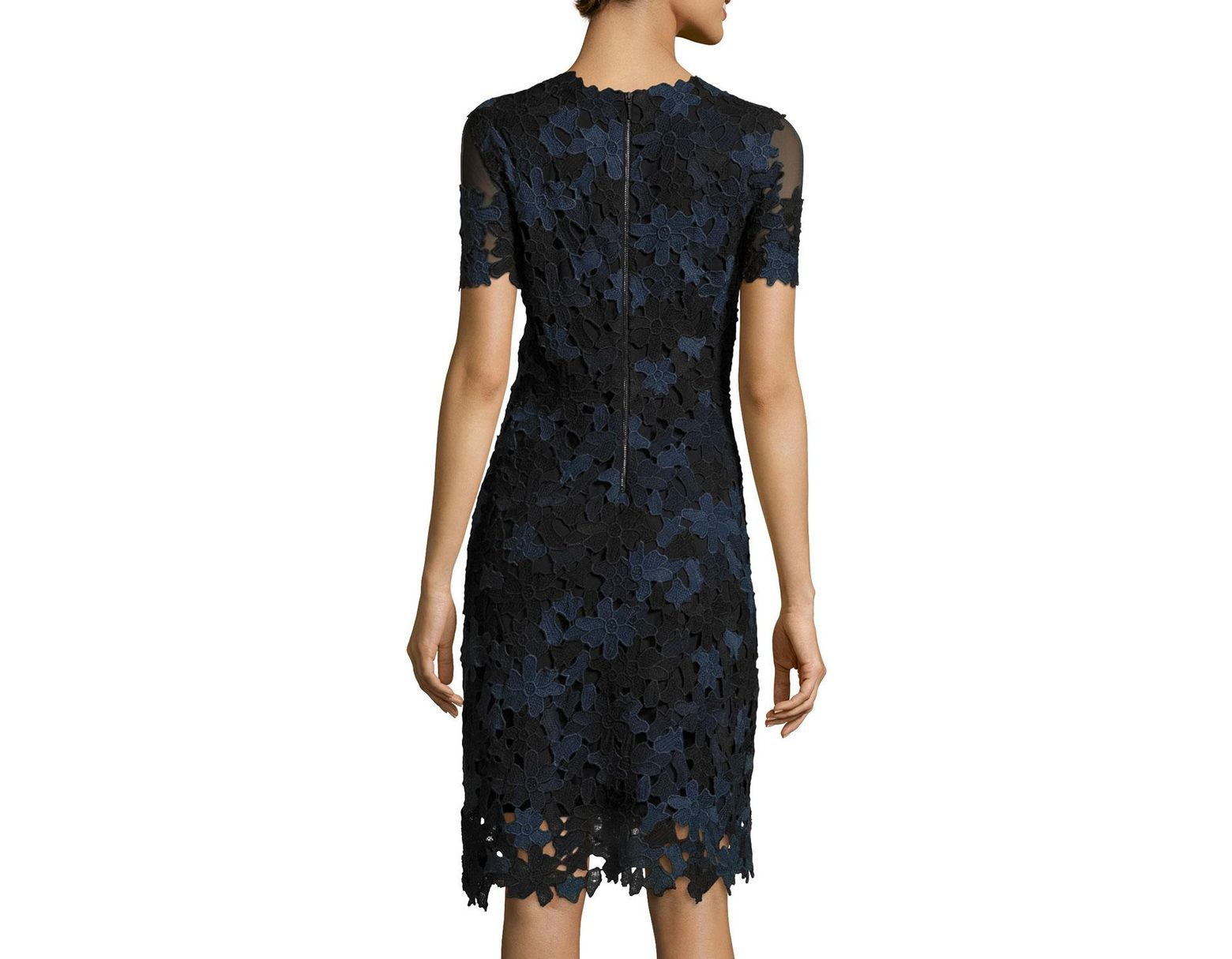 aafe3080ada1 Elie Tahari Ophelia Short-sleeve Lace Sheath Dress in Blue - Save 54% - Lyst