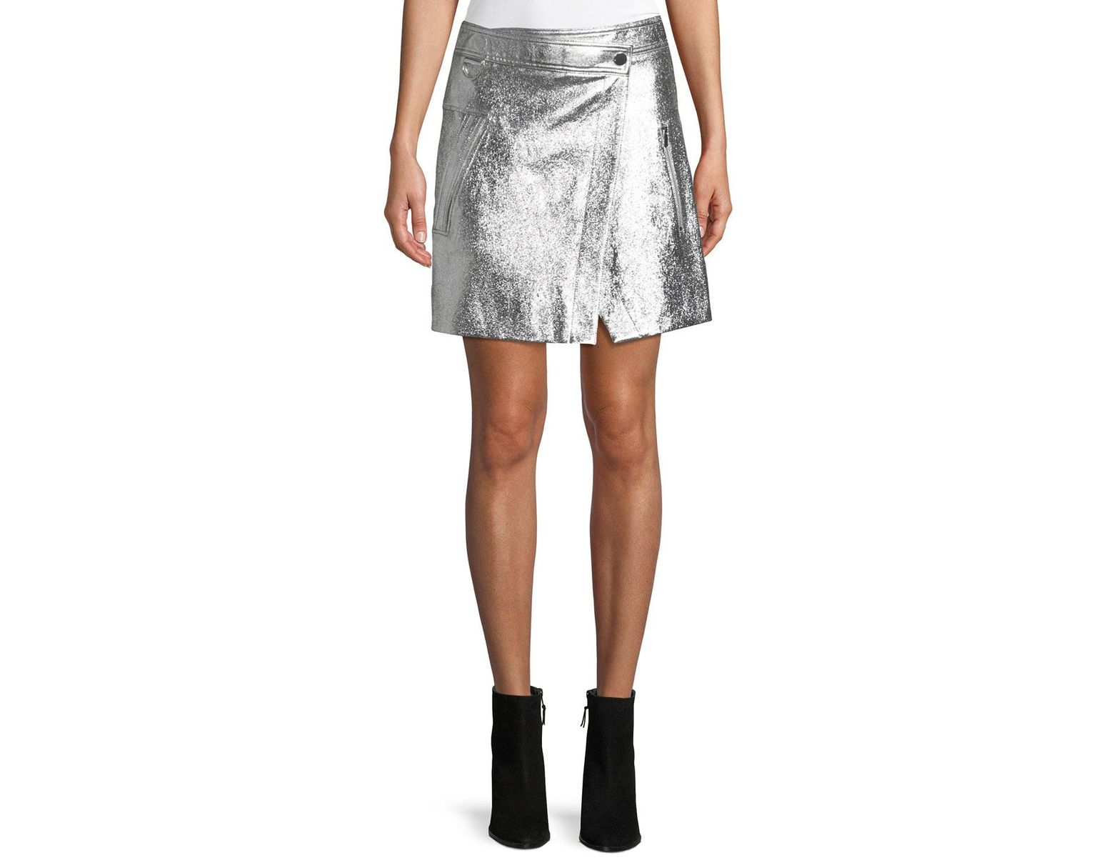b8e8d5d25c24 Lyst - 10 Crosby Derek Lam Patent Leather Wrap Mini Skirt in Metallic