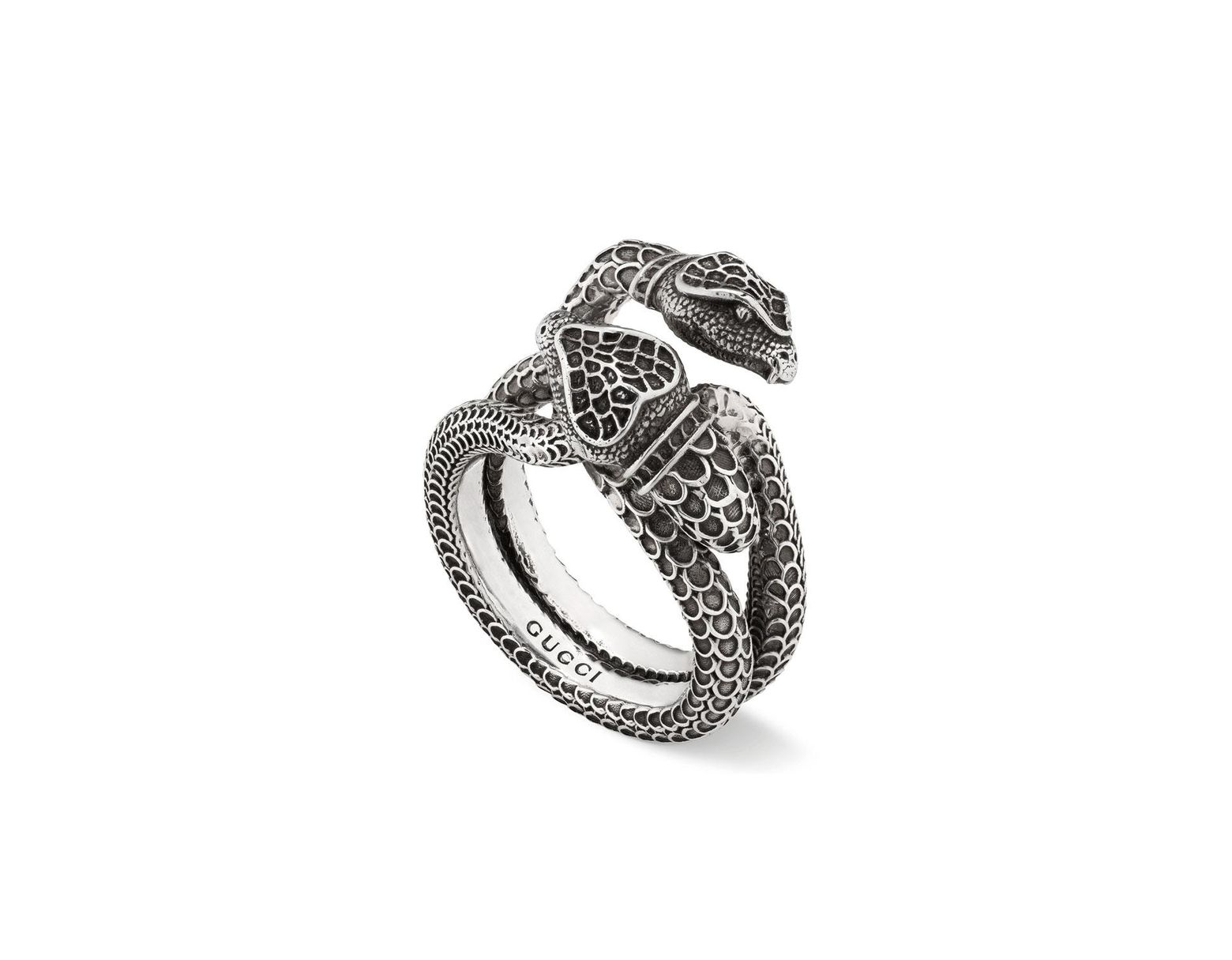 cadc91aa5 Gucci Men's Engraved Snake Ring in Metallic for Men - Lyst