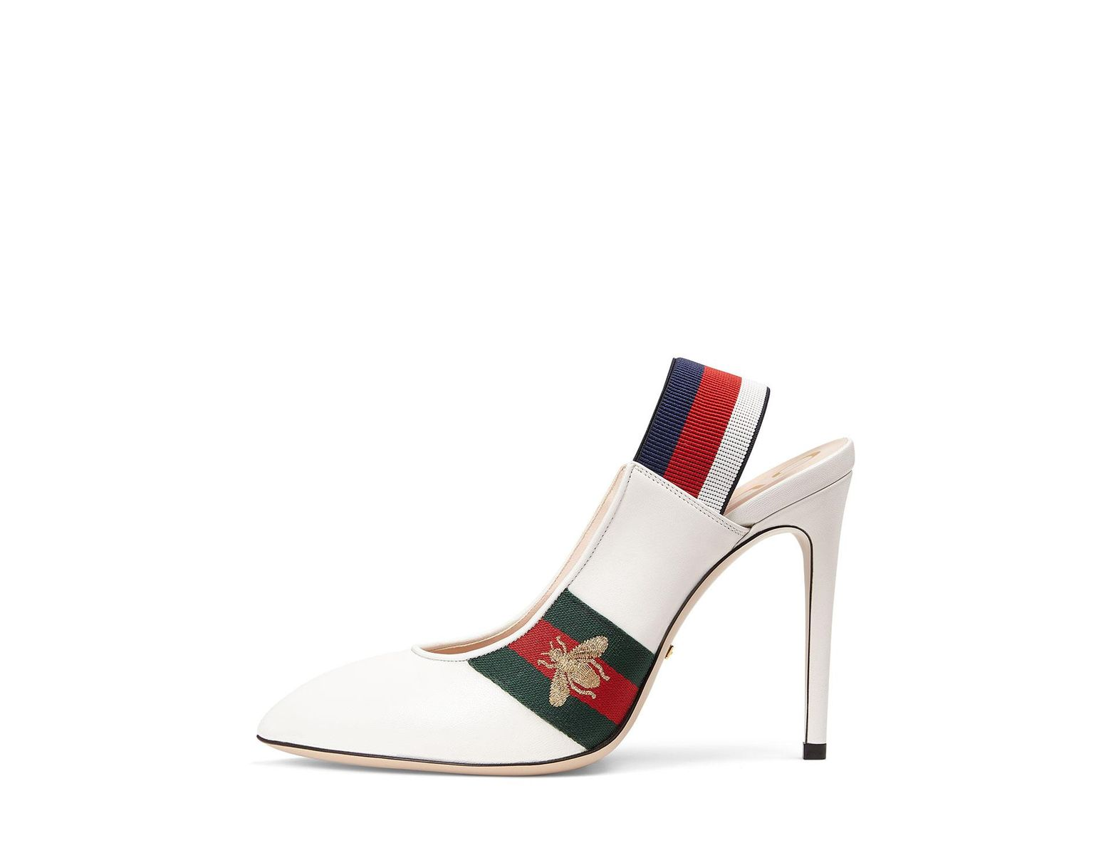 a9054d9e4 Gucci Leather Web Slingback Pump in White - Save 55% - Lyst