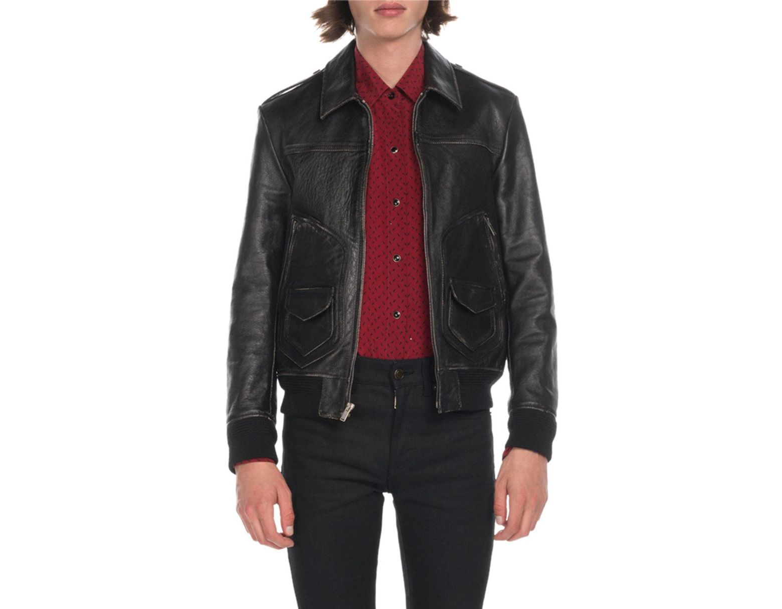 308b6937ae2 Saint Laurent Men's Distressed Leather Bomber Jacket in Black for Men - Lyst