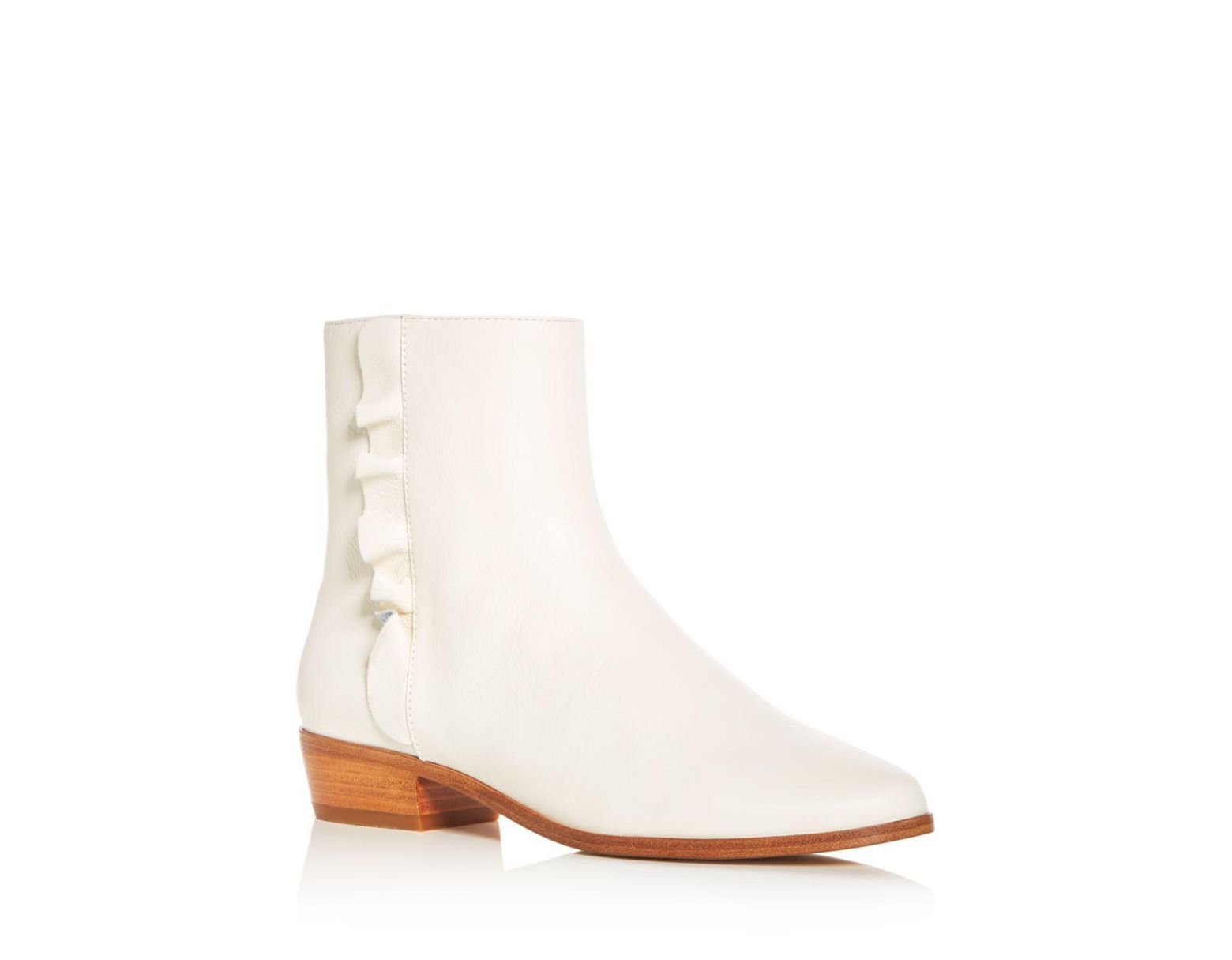 389373def954 Joie Women's Laleh Ruffle Leather Booties in White - Lyst
