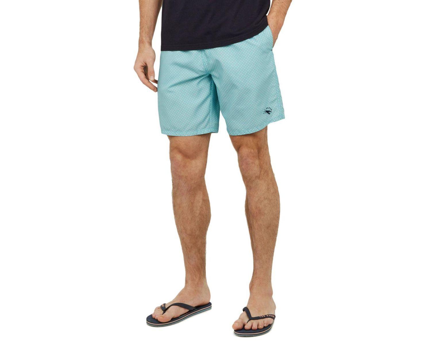 bdb112c217 Ted Baker Geo Print Midi Swim Shorts in Blue for Men - Lyst