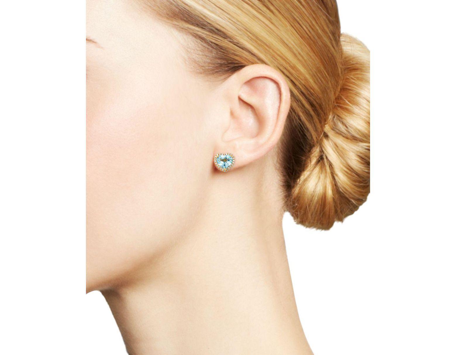2ca189e09 Kiki McDonough 18k Yellow Gold Grace Blue Topaz & Diamond Heart Earrings in  Blue - Lyst
