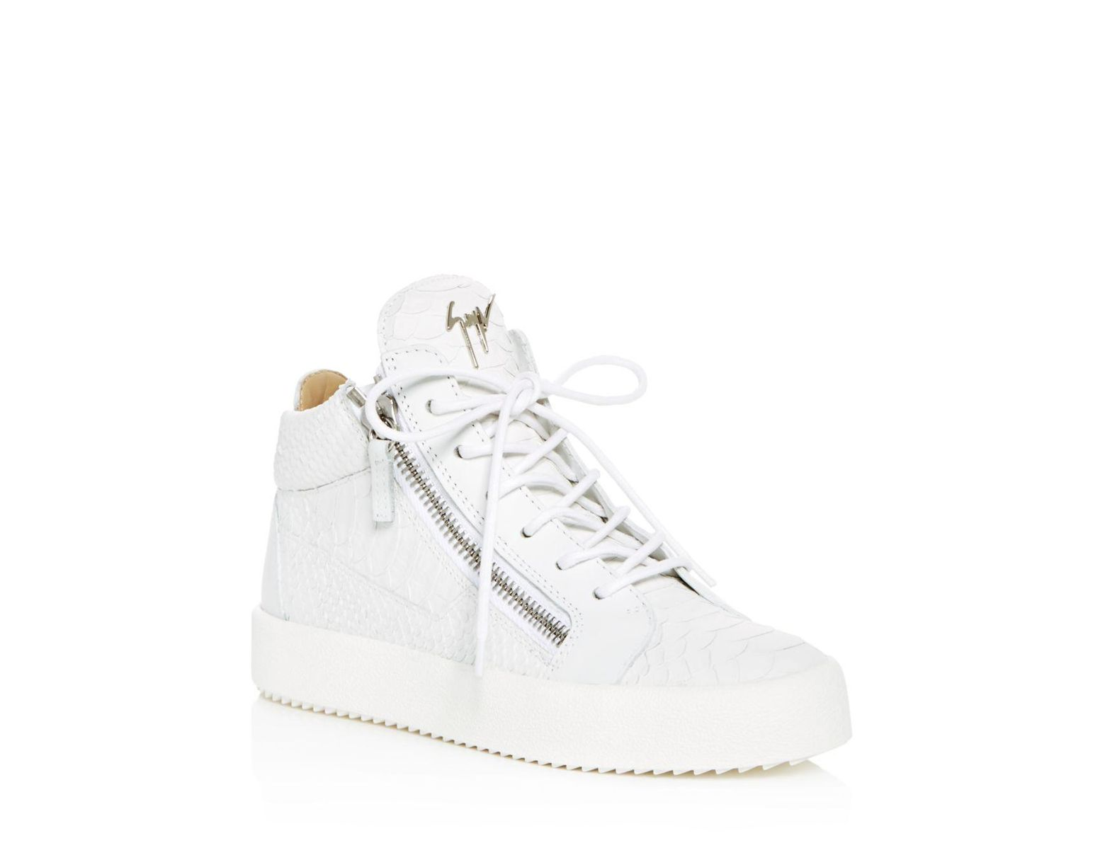0a2465cb70c21 Giuseppe Zanotti Women's May London Snake & Croc Embossed Leather High Top  Sneakers in White - Lyst
