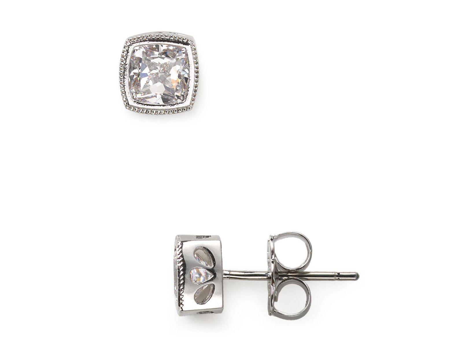 30f56cb54 Nadri Cushion Cut Stud Earrings in Metallic - Lyst