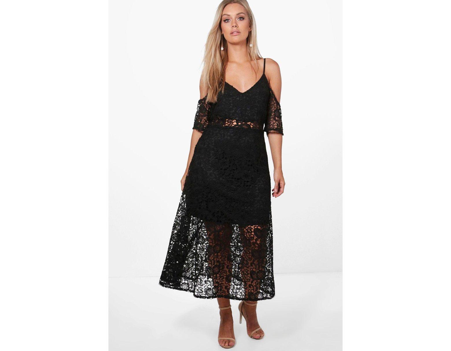 58da90e5d3c7 Boohoo Plus Crochet Lace Premium Skater Dress in Black - Lyst