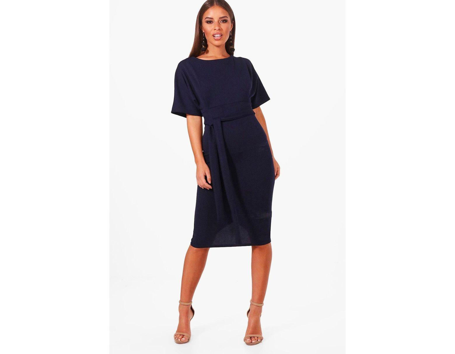 3f2ddcf156ad4 Boohoo Petite Tie Waist Formal Wiggle Midi Dress in Blue - Lyst