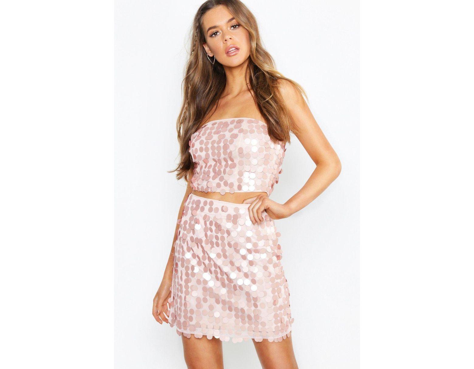 037cfcd1b261 Boohoo Sequin Bralet + Mini Skirt Co-ord - Lyst