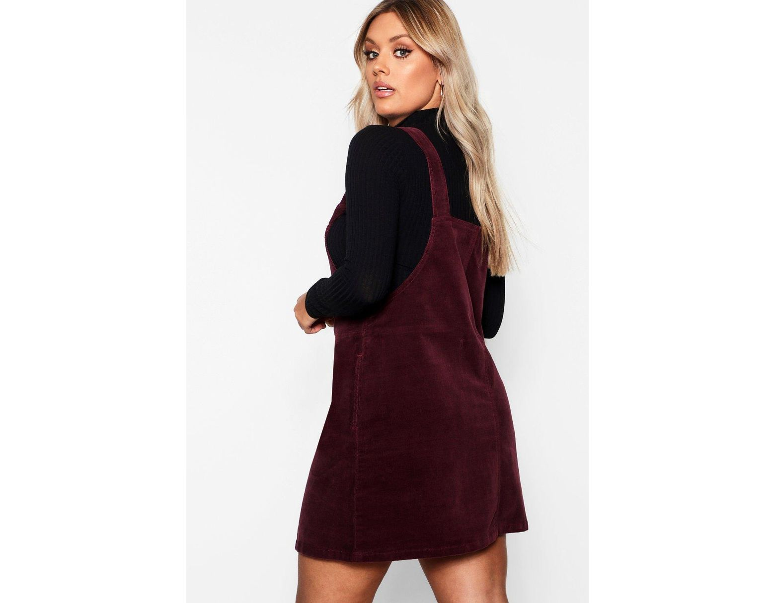 24a7ce05fc35 Boohoo Plus O Ring Zip Cord Pinafore Dress in Purple - Lyst