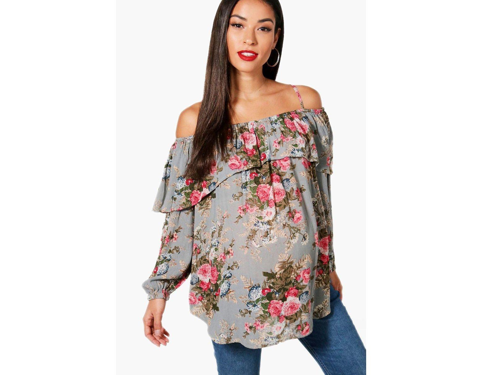 a5706b8833740 Boohoo Maternity Floral Open Shoulder Top - Lyst