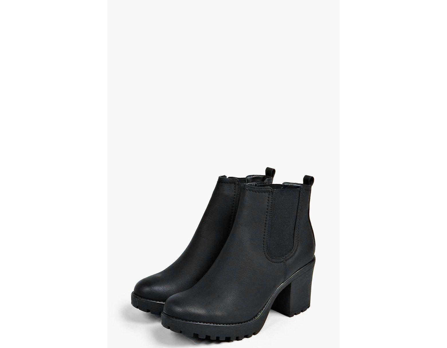 8180b0fa59a8 Lyst - Boohoo Tia Chunky Cleated Heel Chelsea Boot in Black