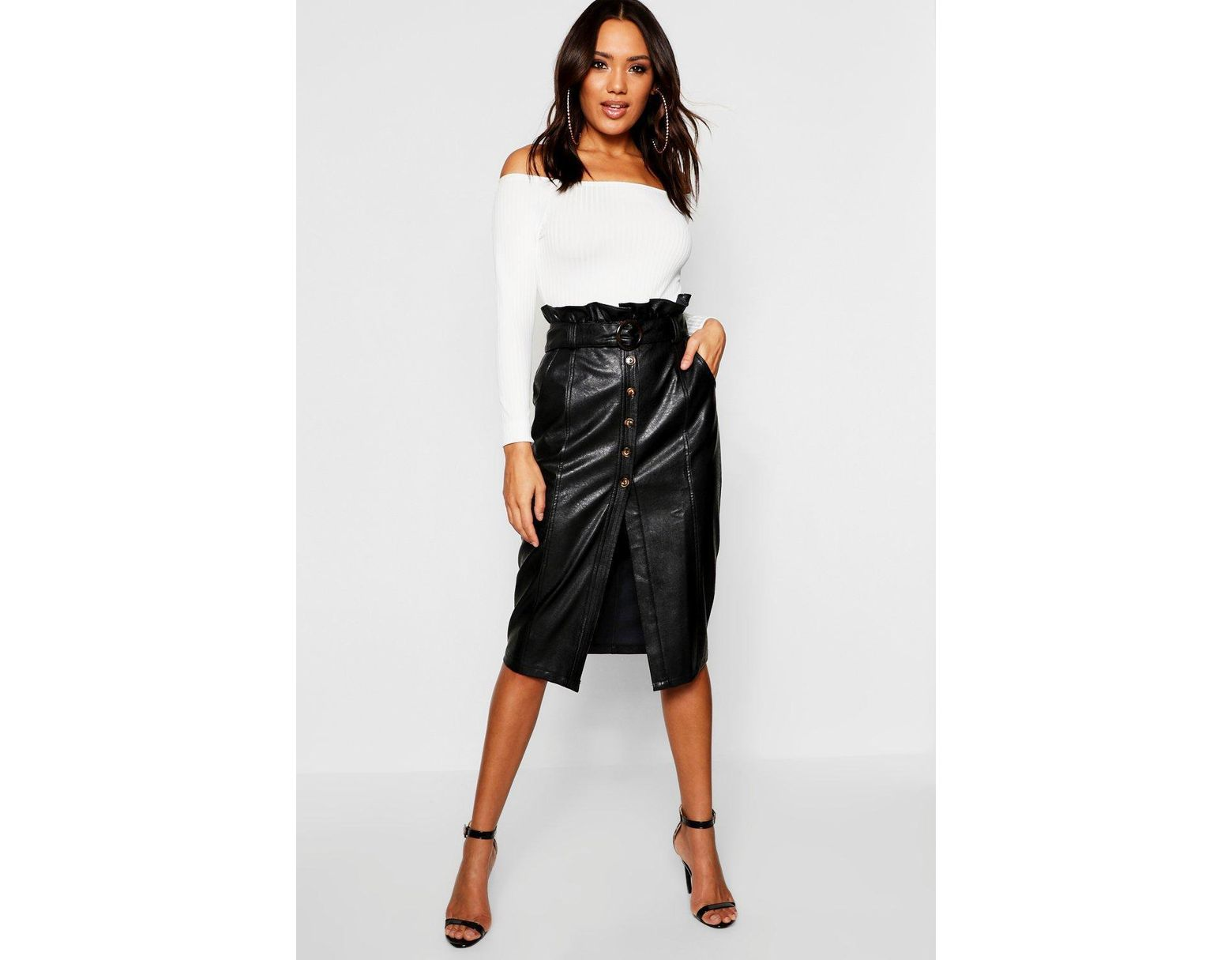 3a68cdcb5729 Boohoo Leather Look Mock Horn Button Paperbag Midi Skirt in Black - Lyst