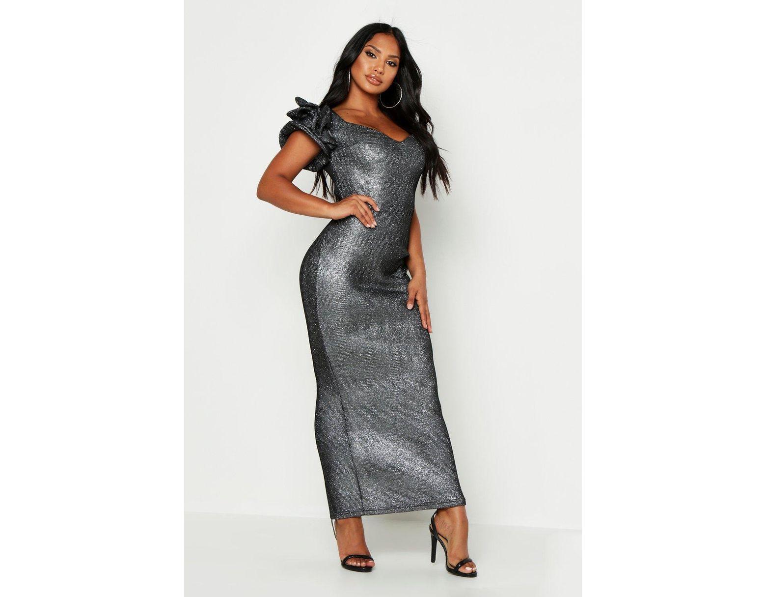 cfcb2931b77a Boohoo High Shimmer Plunge Midaxi Dress in Black - Lyst