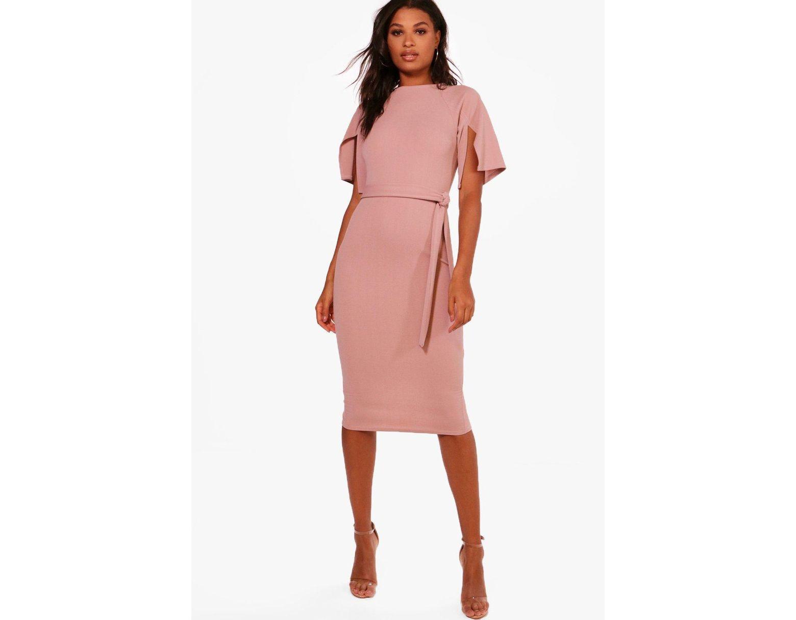 cabf16e2d4 Boohoo Split Sleeve Tie Waist Wiggle Midi Dress in Pink - Lyst