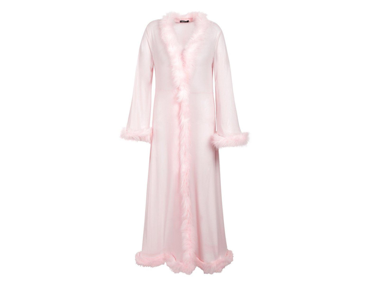 b1bf888cef18 Boohoo Plus Gemma Collins Kimono Robe With Fluffy Trim in Pink - Lyst