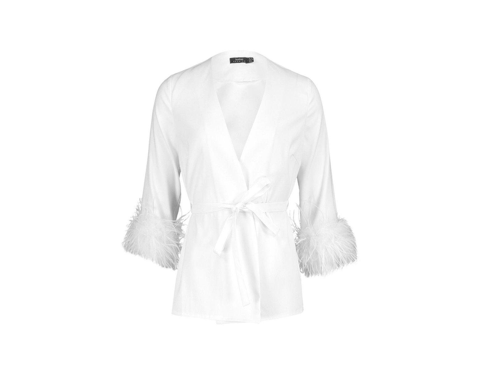 1feafb0be8700 Boohoo Premium Feather Trim Blazer Jacket in White - Lyst