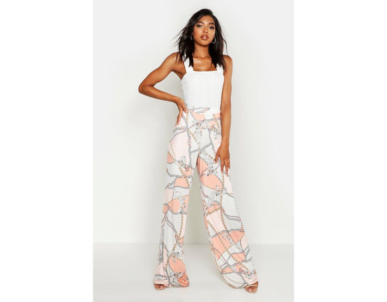 ca8ef85ddb2a Boohoo Tall Chain Print Wide Leg Trousers - Lyst