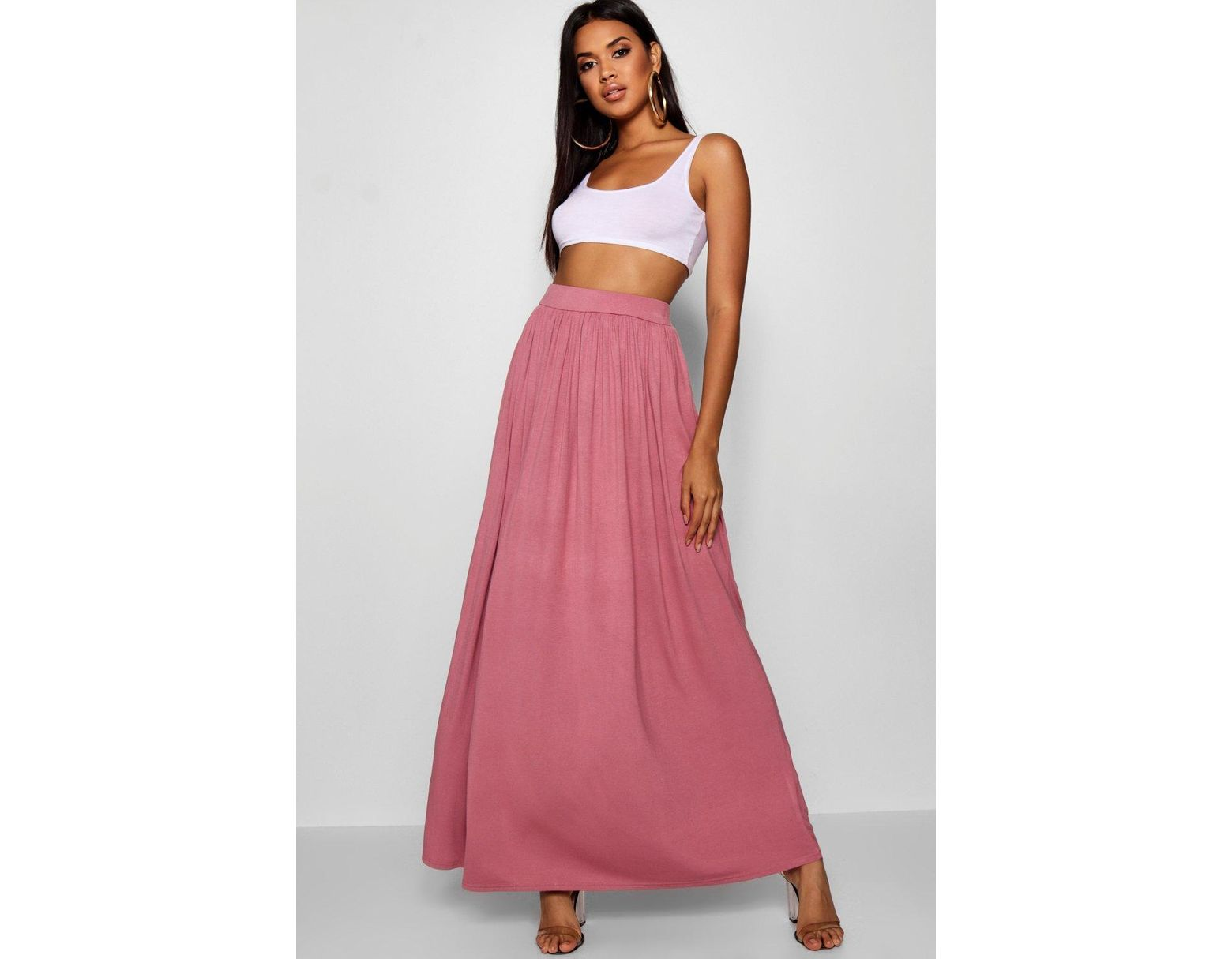 b1977c4408 Boohoo Floor Sweeping Jersey Maxi Skirt in Black - Lyst