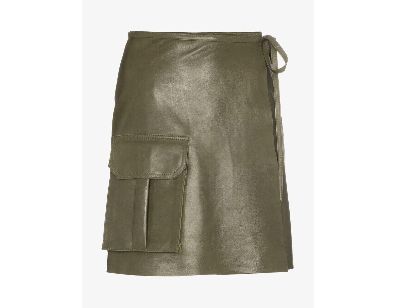 39f8a079f151 Ganni Meranti Utility Pocket Leather Wrap Skirt in Green - Save 60% - Lyst