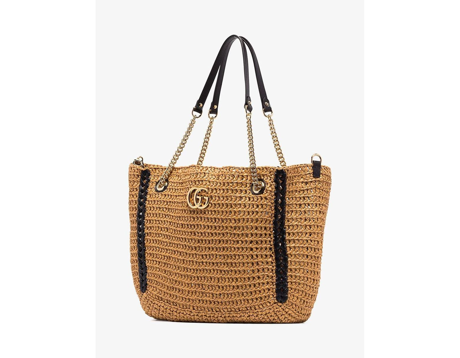 429691892 Gucci Neutral Marmont 2.0 Large Straw Tote Bag in Brown - Lyst