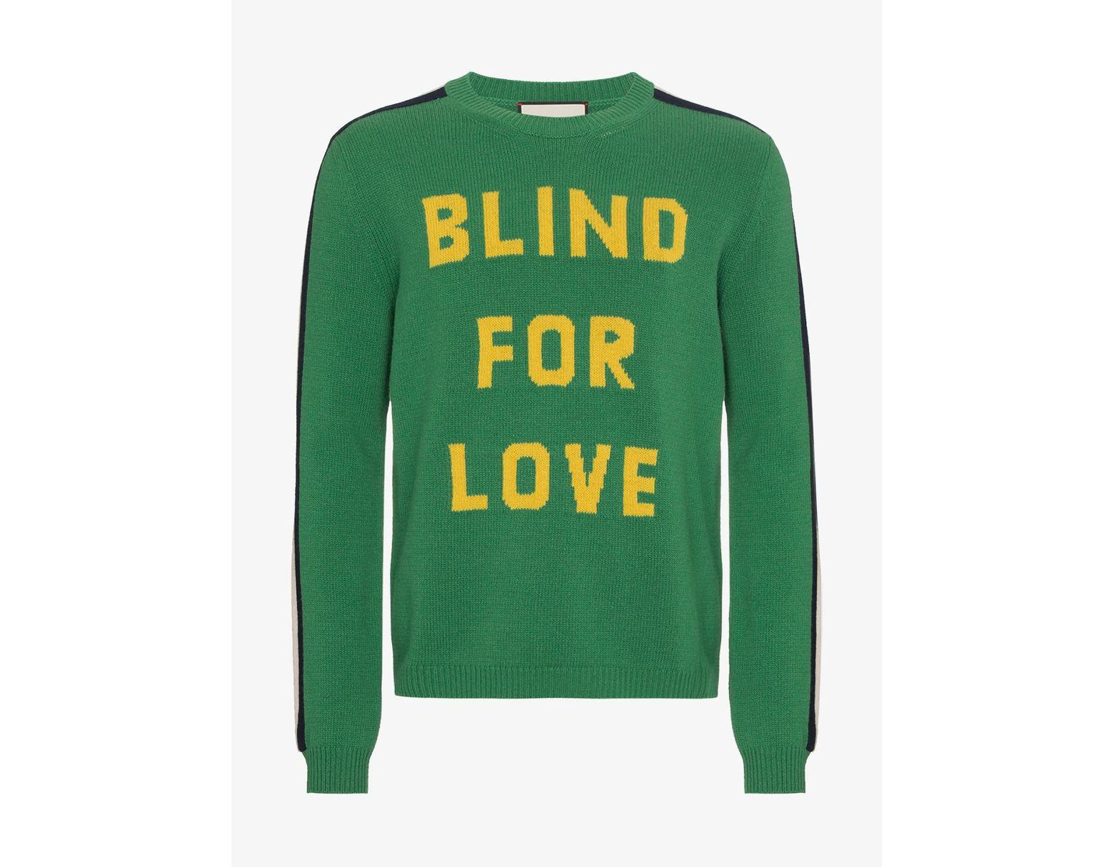 4f827b912 Gucci Blind For Love Knitted Jumper in Green for Men - Save 50% - Lyst