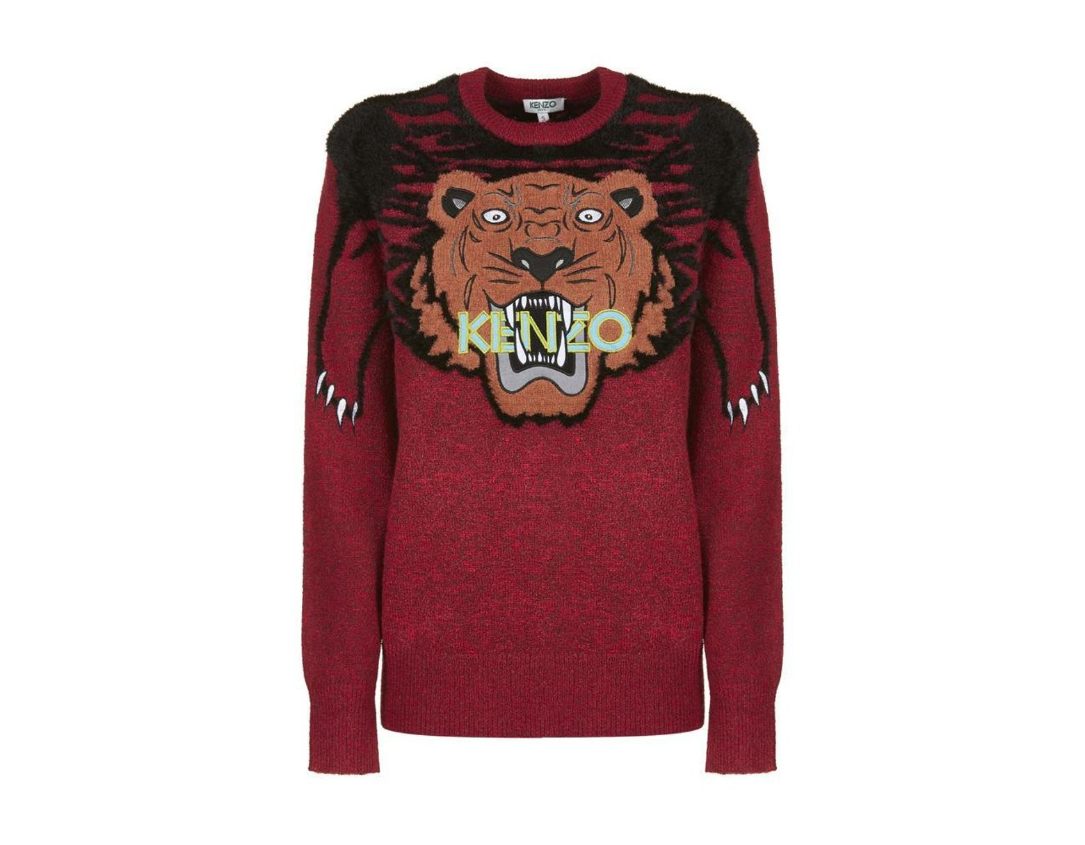 b9c84195 KENZO Tiger Intarsia Sweater in Red - Save 34% - Lyst