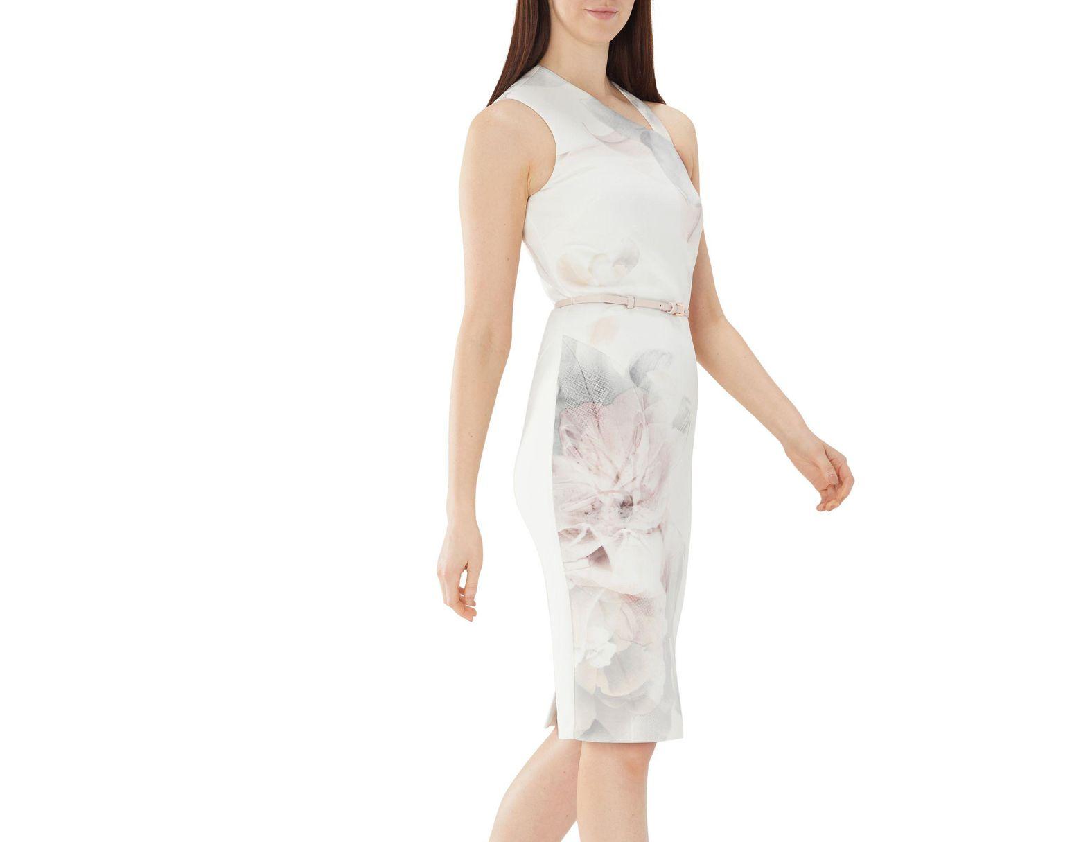 c5951eab22f Coast Floral Print  tara  Belted Shift Dress in White - Lyst