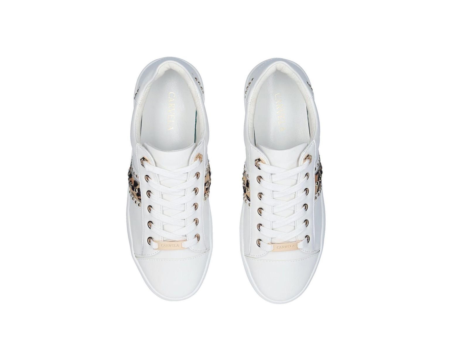 2a15cd501339 Carvela Kurt Geiger White 'jargon' Embellished Trainers With Leopard Print  in White - Lyst