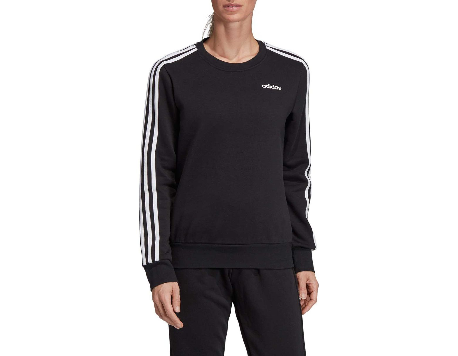 adidas Essentials 3 stripes Crew Neck Sweatshirt in Black Lyst