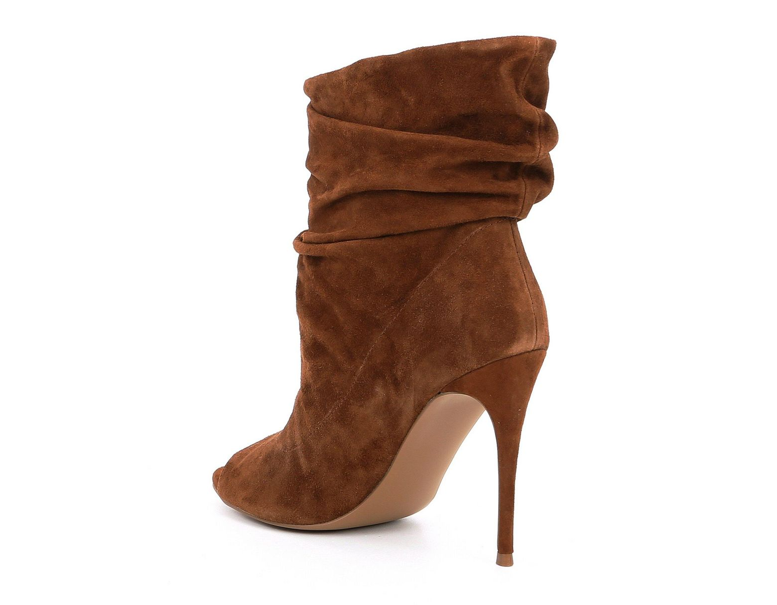 ad9b921db Steve Madden Surrender Slouched Suede Stiletto Peep Toe Booties in Brown -  Lyst