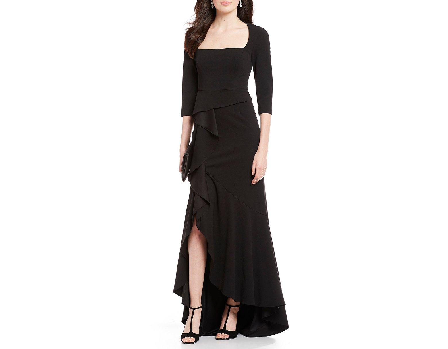 6fb83a7ee73 Adrianna Papell Cascade Slit Front Square Neck Crepe Gown in Black - Lyst