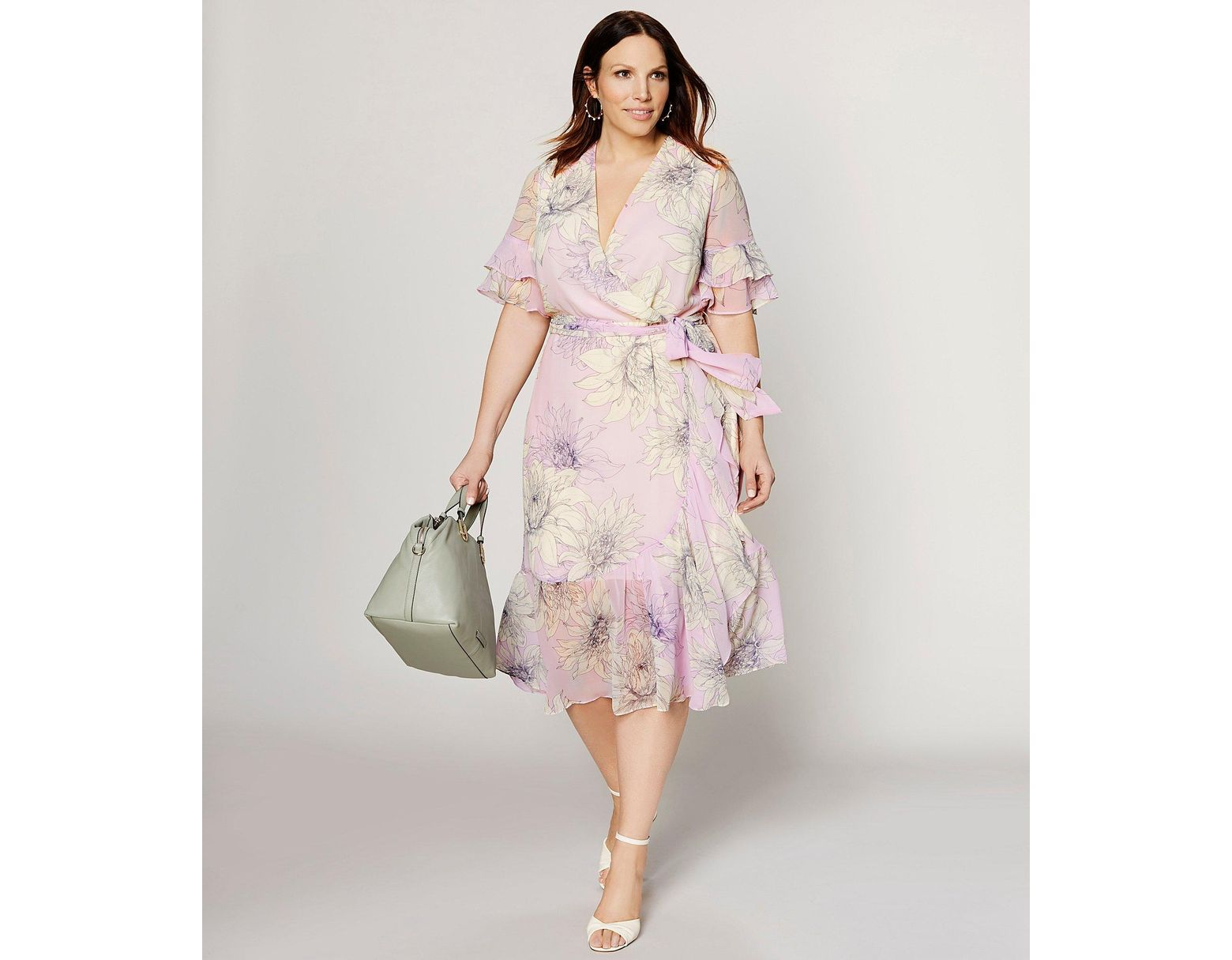 a214ecbcc3f Vince Camuto Plus Size Floral Print Tiered Ruffle Short Sleeve Midi Length  Wrap Dress - Lyst