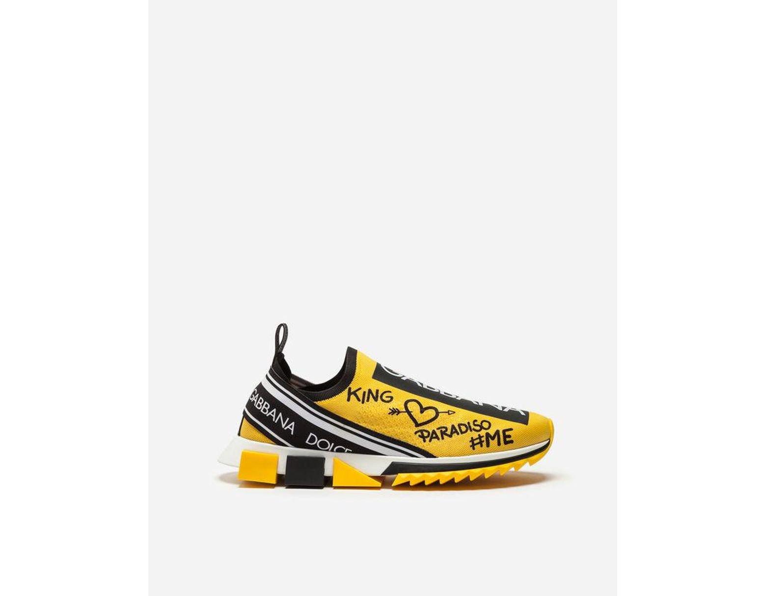 df8e0b3f74 Dolce & Gabbana Sneakers In Sorrento Graffiti Print in Yellow for Men - Lyst