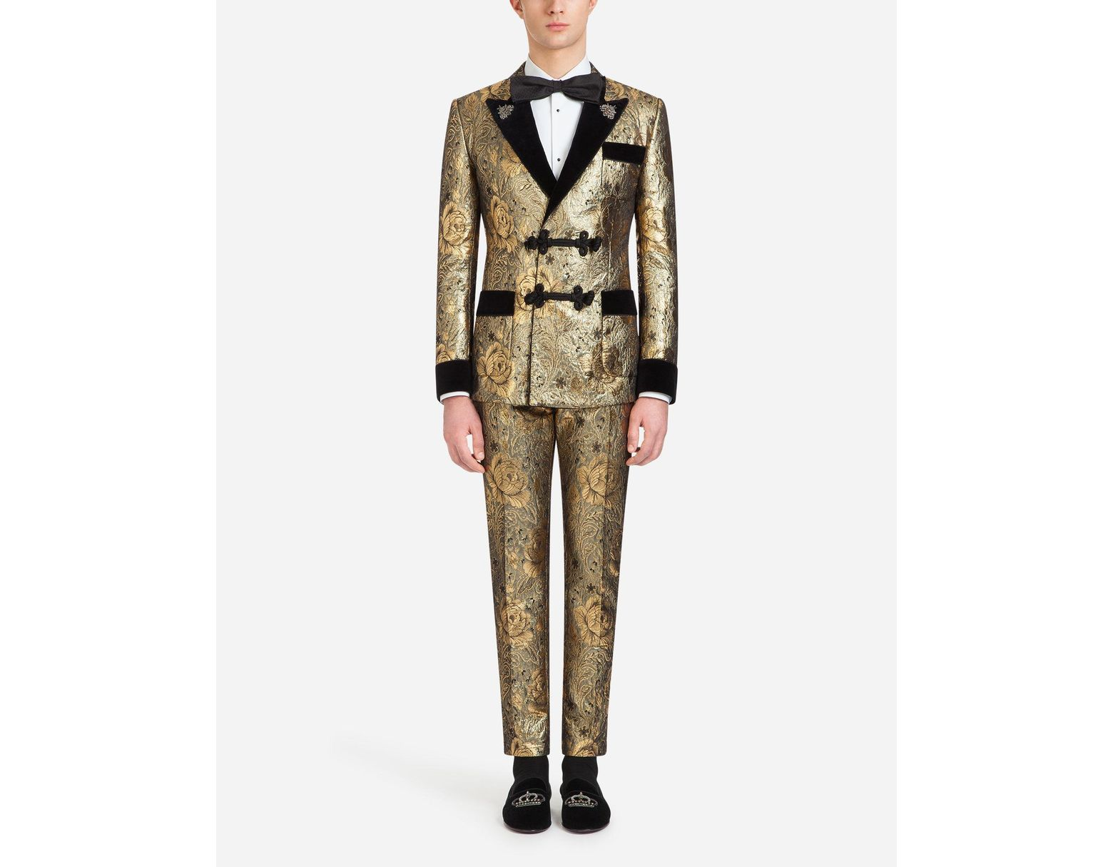 185c3826d1067 Dolce & Gabbana Tuxedo-style Smoking Jacket In Jacquard Wool With Patches  in Metallic for Men - Lyst