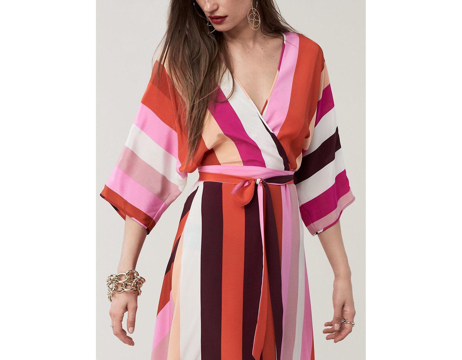 db16c36a8c Diane von Furstenberg Eloise Silk Crepe De Chine Maxi Faux-wrap Dress in  Red - Lyst